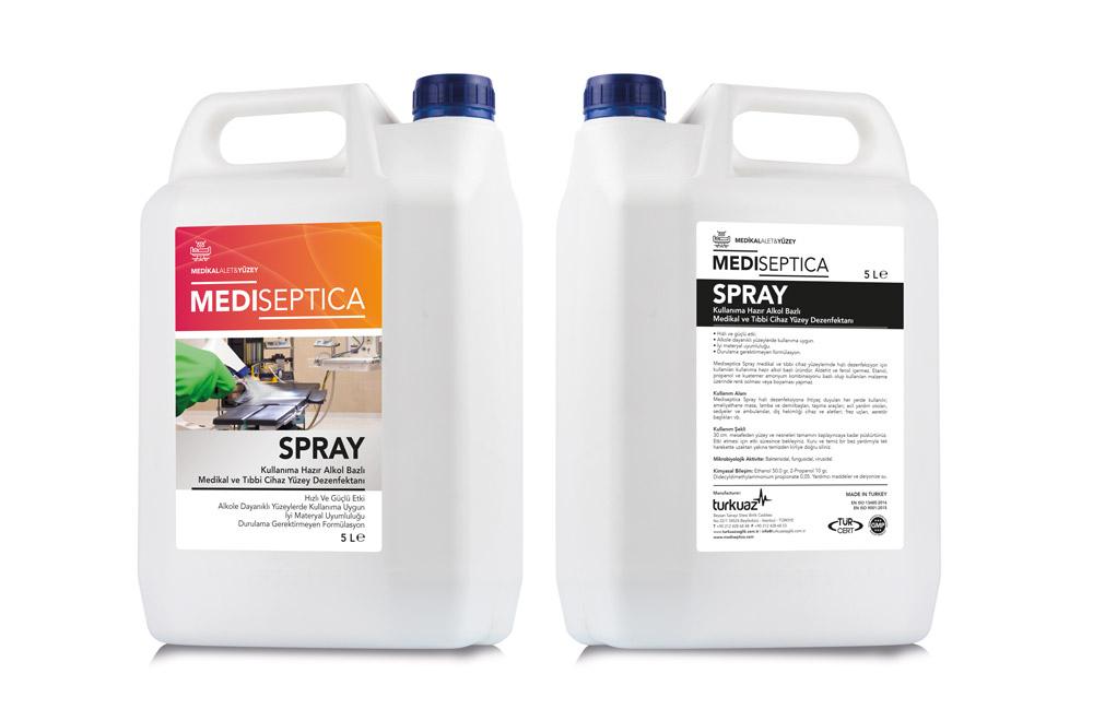 Mediseptica Spray Kullanıma Hazır Medikal ve Tıbbi Cihaz Yüzey Dezenfektanı – Alkol Bazlı